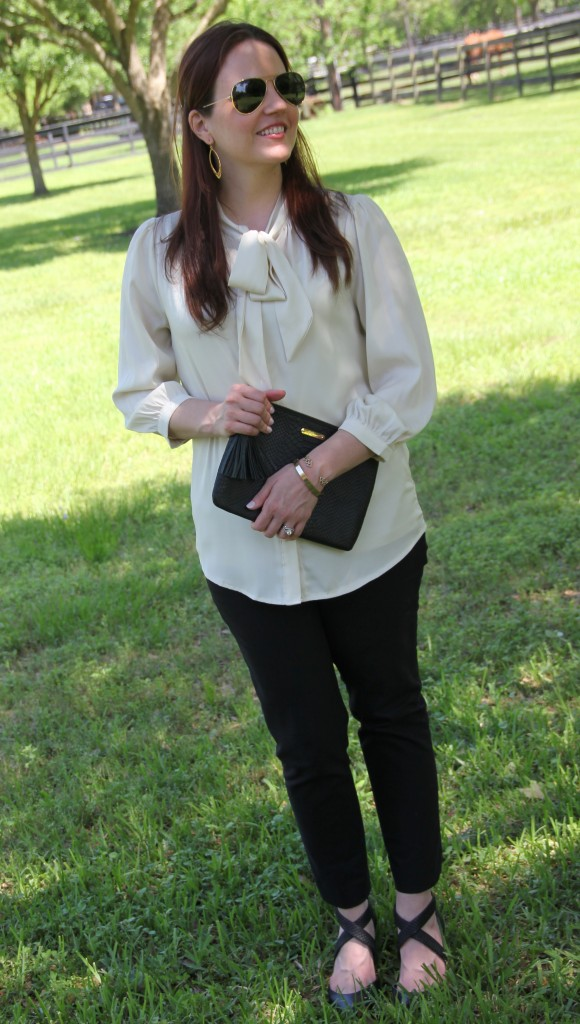 Office Style - Tie Neck Blouse and Skinny Work Pants | Lady in Violet
