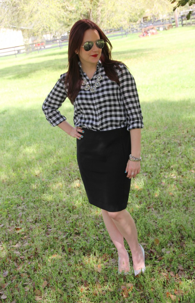 Spring Office Outfit idea - Gingham top with black pencil skirt | Lady in Violet