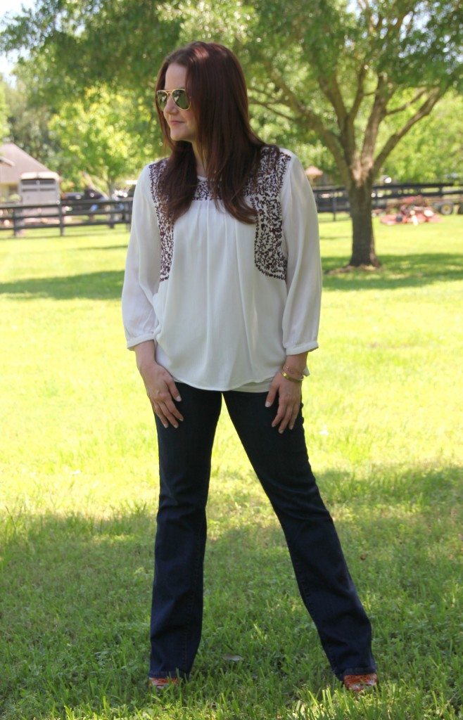 Spring Outfit Idea - Embroidered Top with Flared Jeans and Wedges | Lady in Violet