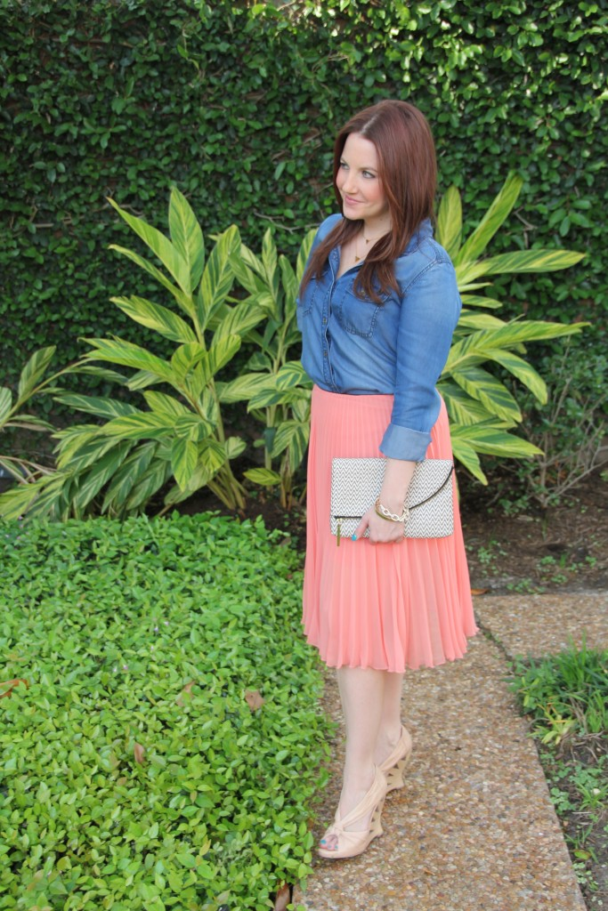 Spring Outfit Idea - Halogen Chambray Shirt and Topshop Pleated Midi Skirt with Nude Wedges | Lady in Violet