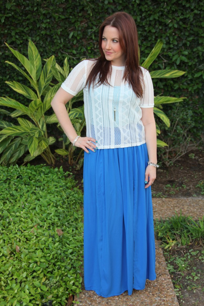 Spring Outfit - Blue Maxi Skirt and White Cropped Top | Lady in Violet