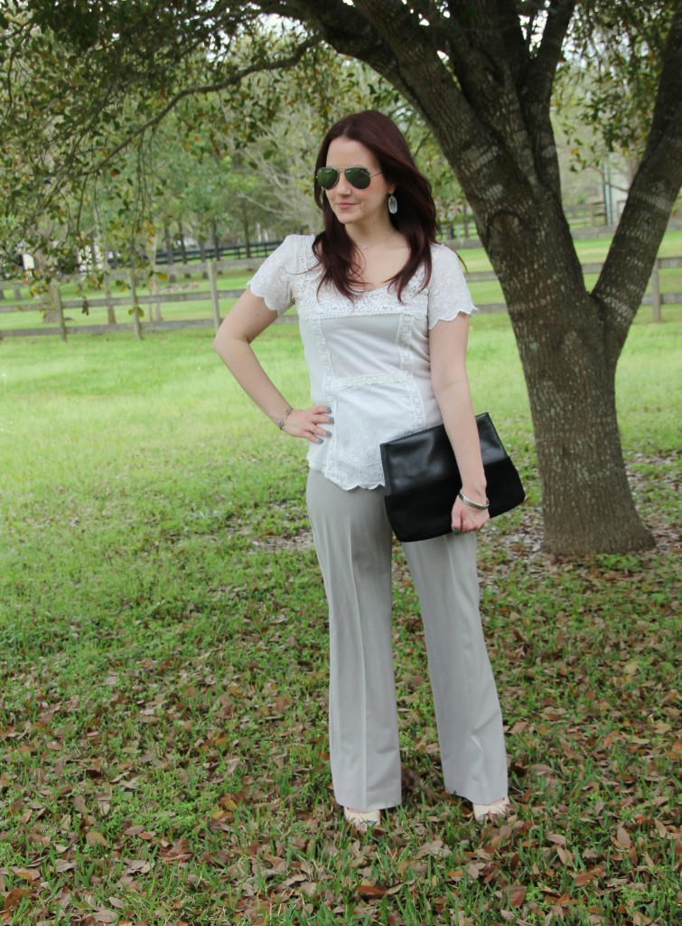 Spring Work Look - White Lace Top with light gray pants | Lady in Violet