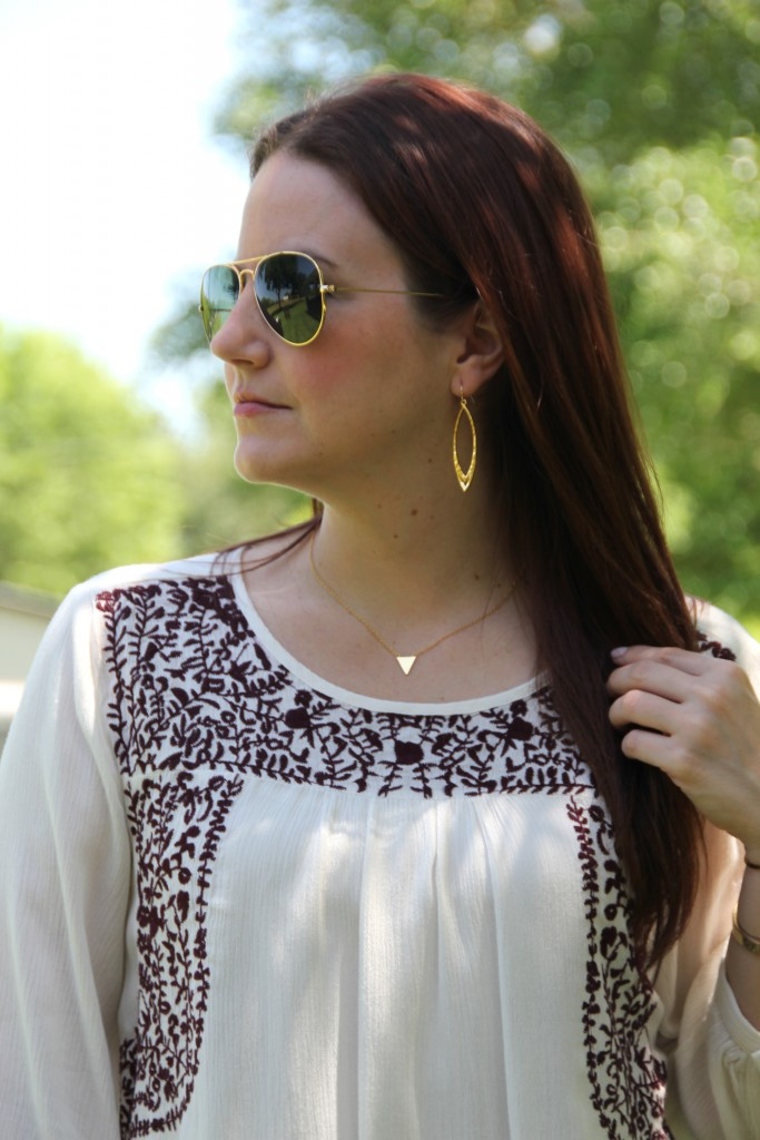 Spring Seventies Style - Embroidered Top with Flared Jeans and Wedges | Lady in Violet