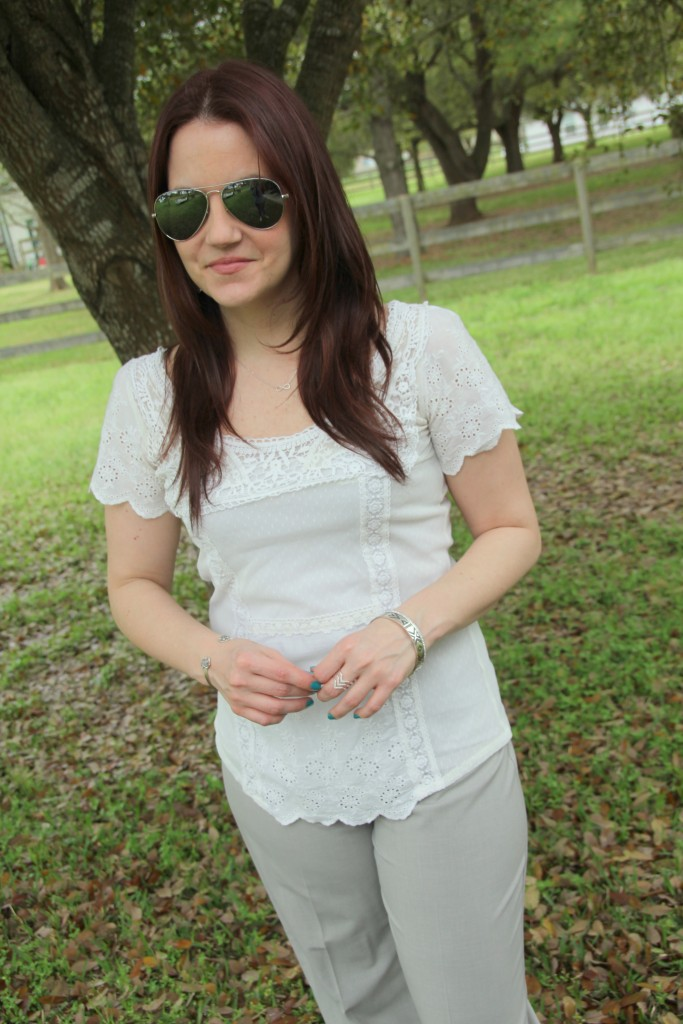 Work Outfit Idea - White Lace Top with light gray pants | Lady in Violet