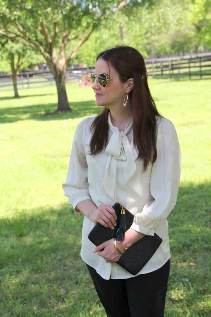 Modcloth Tie Neck Blouse, perfect for the office! | Lady in Violet