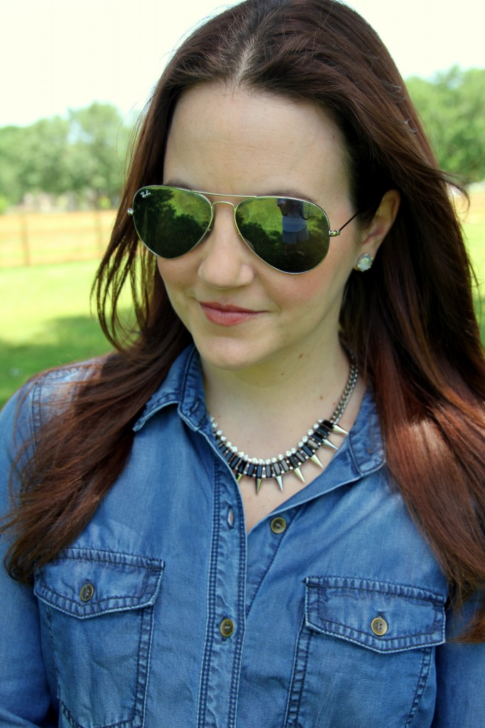Slate Necklace with Chambray Shirt   Lady in Violet