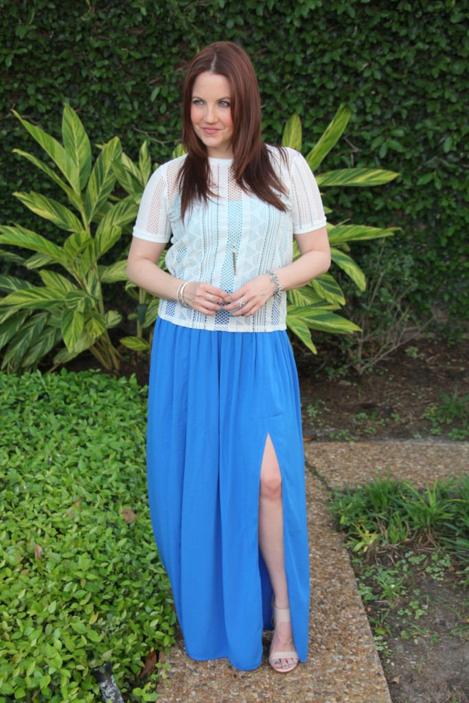 Topshop Blue Slit Maxi Skirt with Pointelle Tee | Lady in Violet