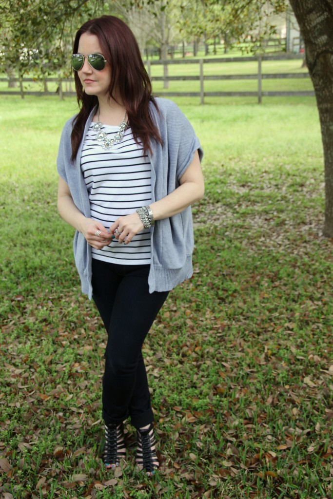Spring Weekend Outfit - Striped Tee and Skinny jeans with statement necklace | Lady in Violet