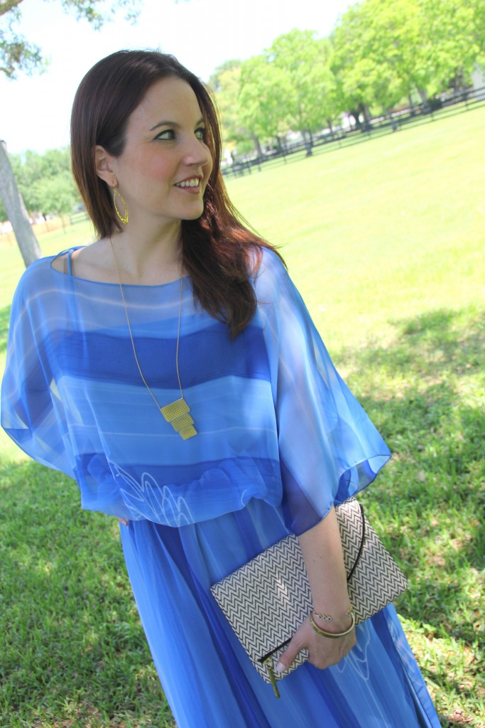 Spring Style - Blue Dress with Gold Jewelry | Lady in Violet