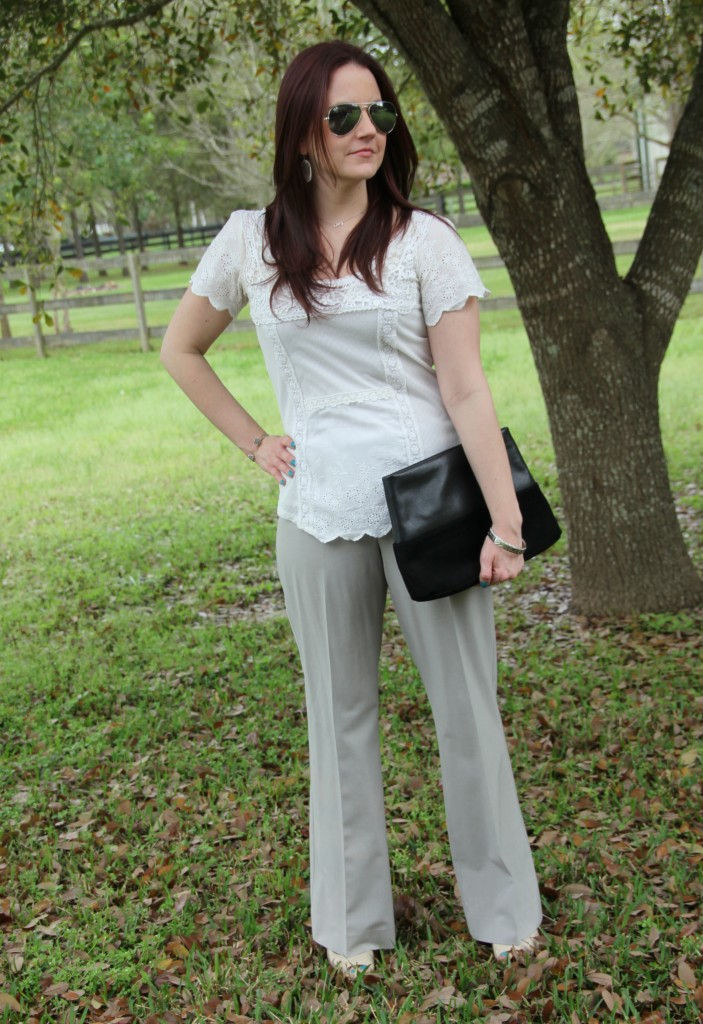 Spring Work Outfit - White Lace Top with light gray pants | Lady in Violet