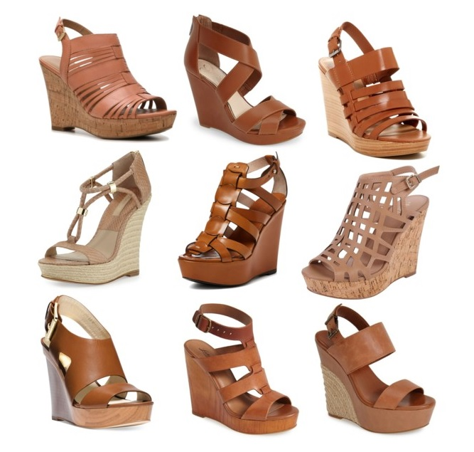 Cognac Wedge Sandals