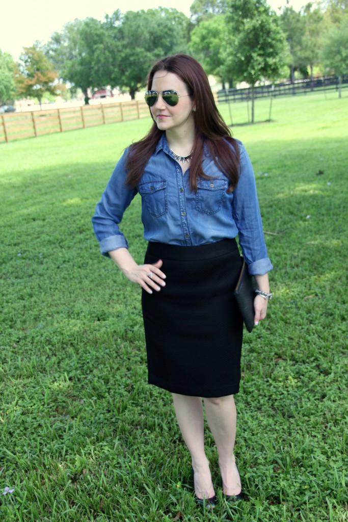 Work Outfit Idea - Chambray Shirt and Black Pencil Skirt | Lady in Violet