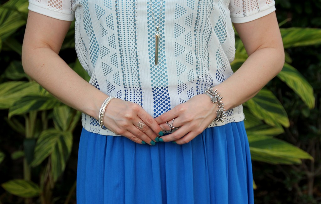 Hello Color! Bright Blue for Spring paired with silver jewelry | Lady in Violet