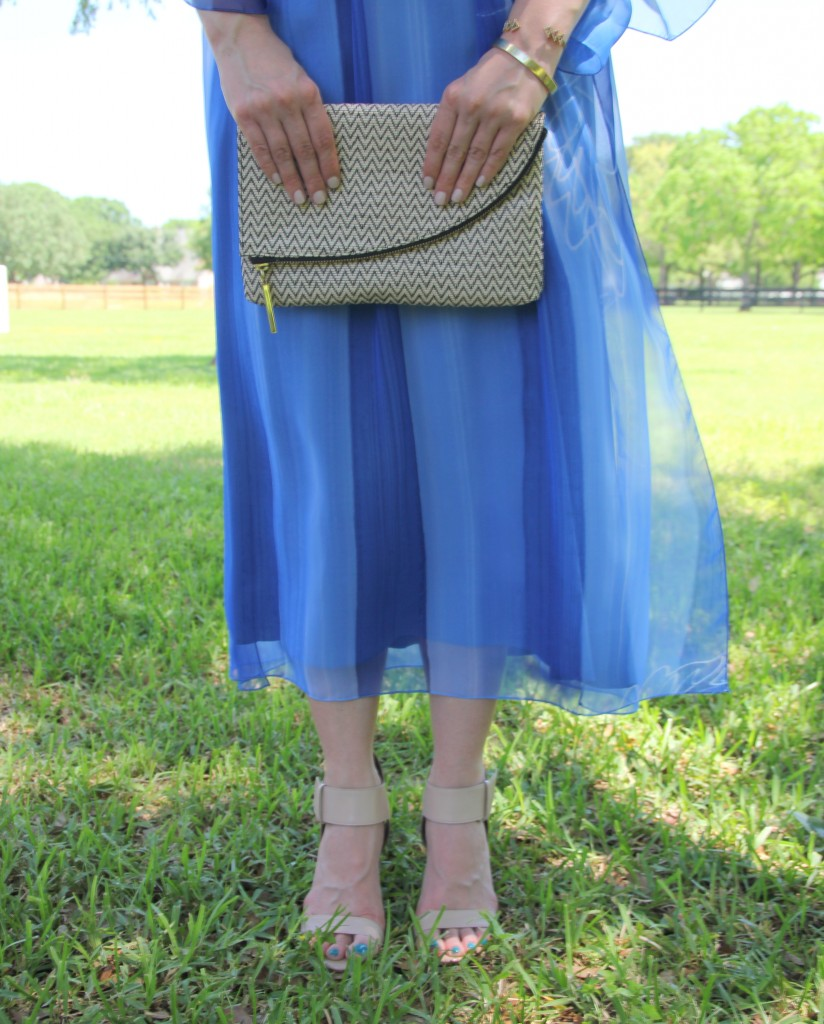 Blue Dress with Nude Sandals | Lady in Violet