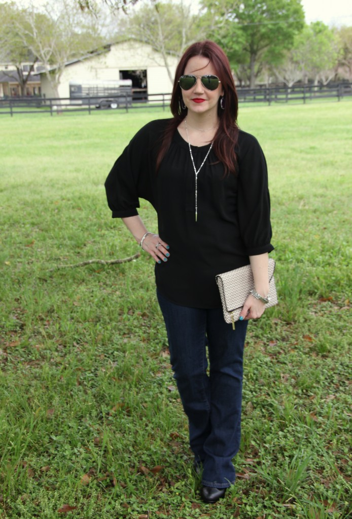 Casual Work outfit idea - flared jeans and black tunic with booties | Lady in Violet