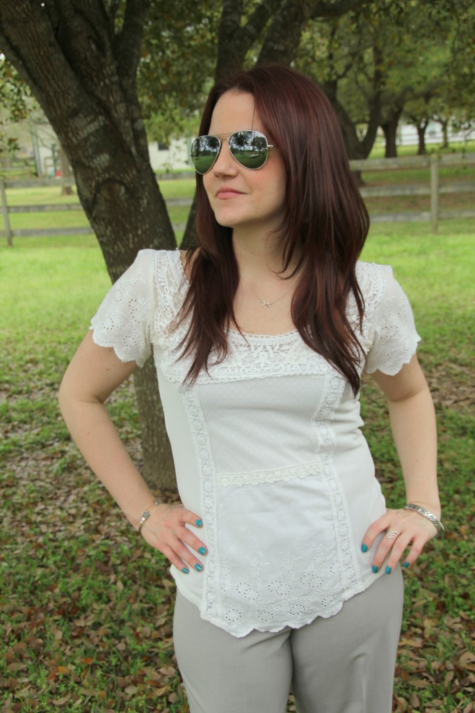 Spring Work Style - White Lace Top with light gray pants | Lady in Violet