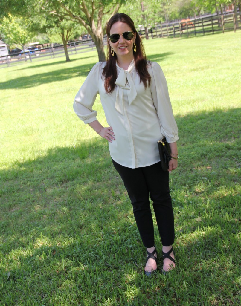 Work Outfit - Tie Neck Blouse and Skinny Work Pants | Lady in Violet