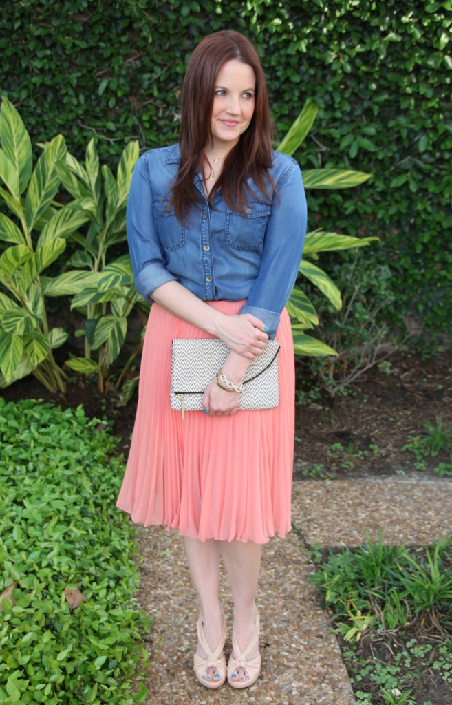 Perfect Spring Look - Halogen Chambray Shirt and Topshop Pleated Midi Skirt with Nude Wedges | Lady in Violet