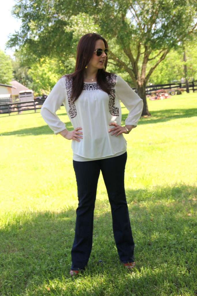 Fall Outfit Idea - Embroidered Top with Flared Jeans and Wedges | Lady in Violet