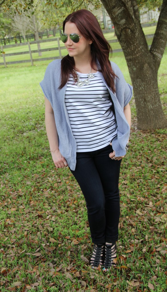 Spring Style - Casual Tee with skinny jeans and wedges | Lady in Violet