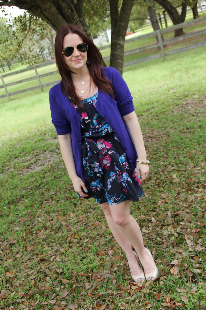 Summer Work Outfit - Cardigan over a summer dress with nude pumps | Lady in Violet