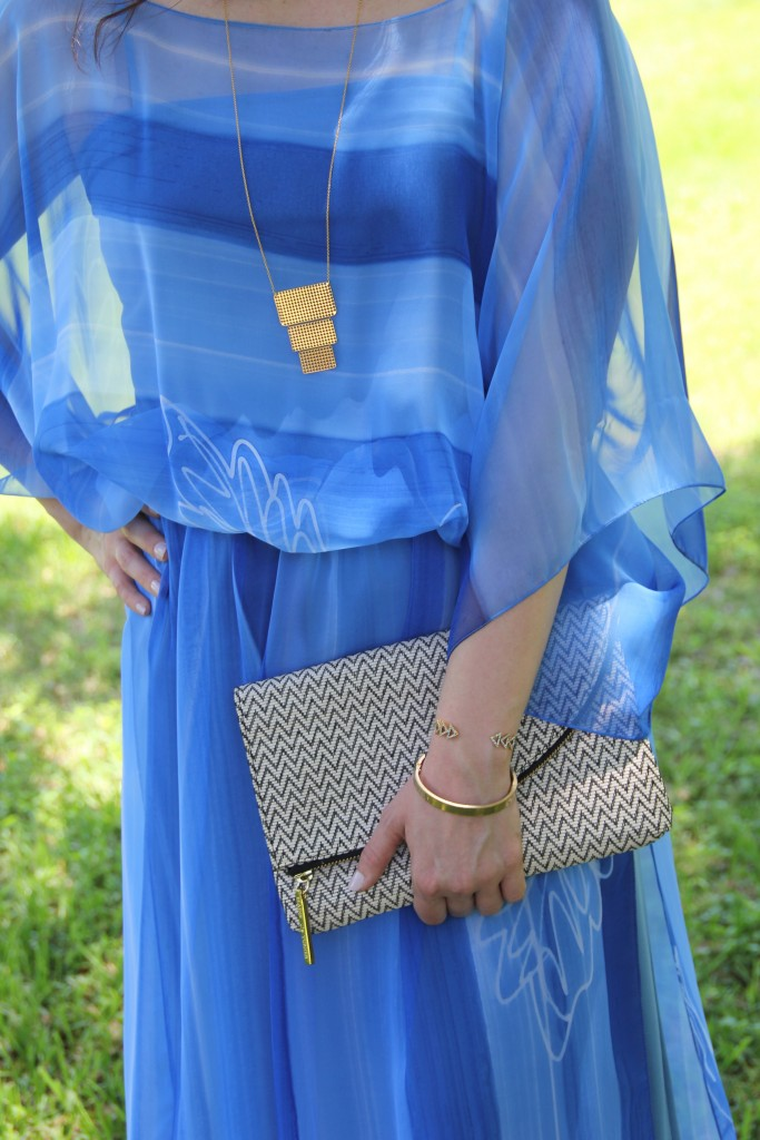 Vintage Blue Dress and Gold Jewelry | Lady in Violet