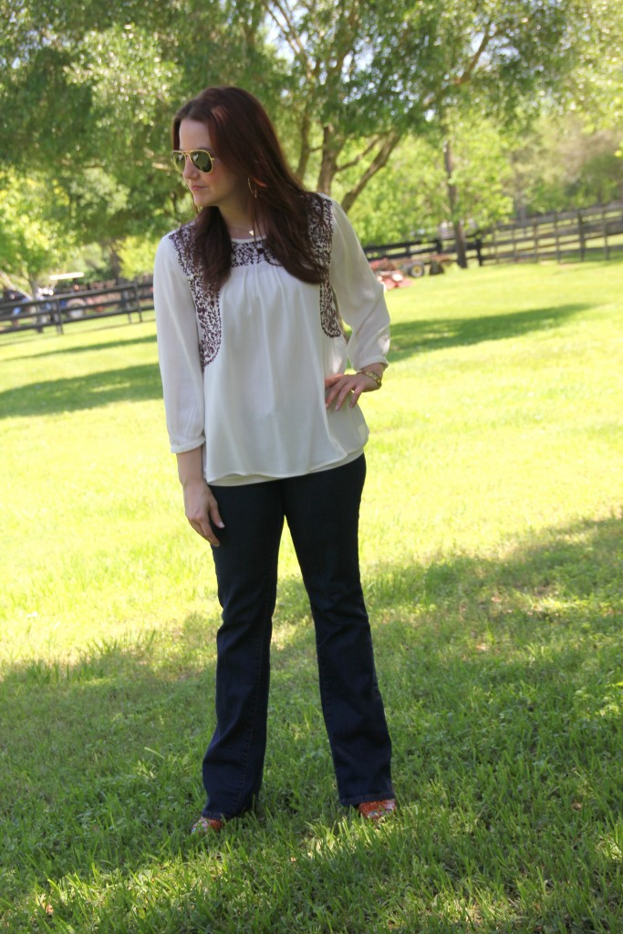 Casual Outfit Idea - Embroidered Top with Flared Jeans and Wedges | Lady in Violet