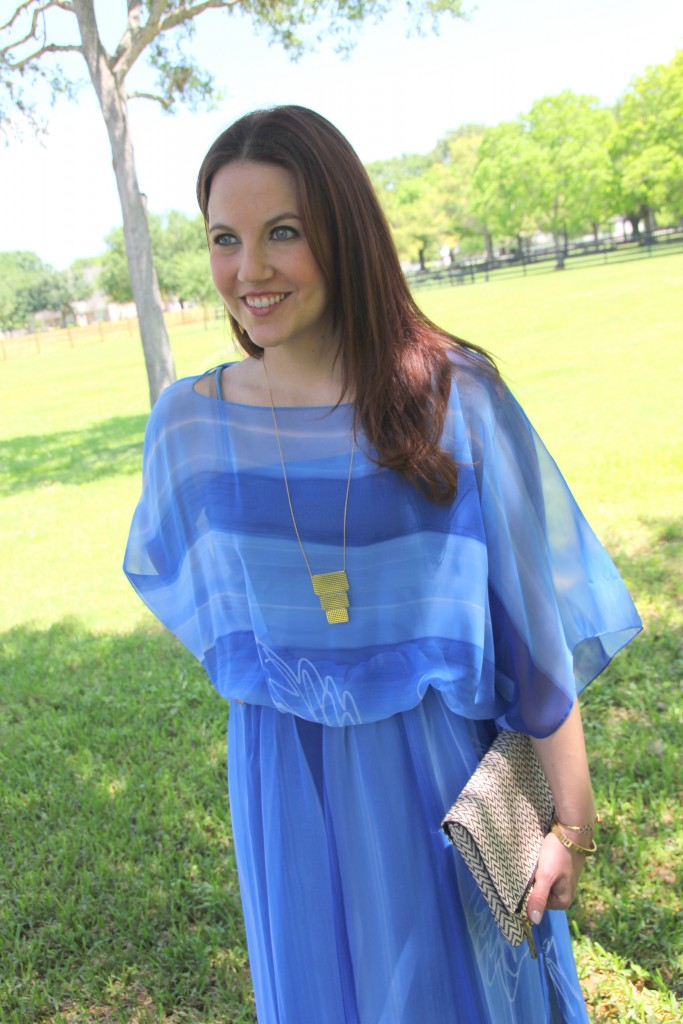 Outfit Idea - Vintage Blue Dress with Gold Jewelry | Lady in Violet