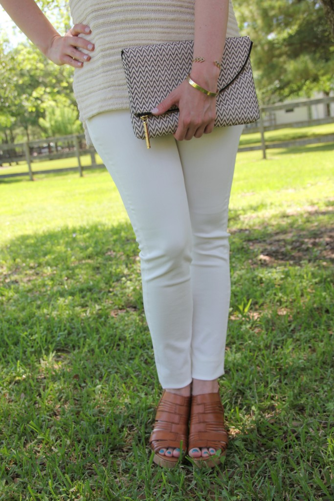 DSTLD White Denim with Franco Sarto Wedges | Lady in Violet