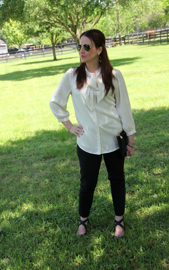 Work Outfit Idea - Tie Neck Blouse and Skinny Work Pants | Lady in Violet