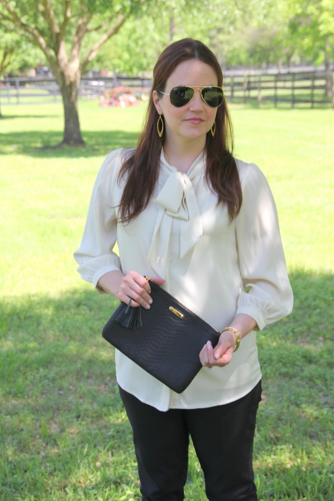 Work Outfit Idea - Tie neck blouse and black skinny pants | Lady in Violet