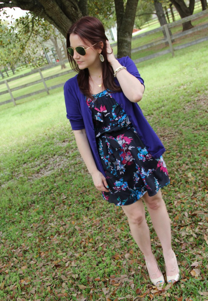 Spring and Summer Office Outfit - Cardigan over a floral sundress | Lady in Violet