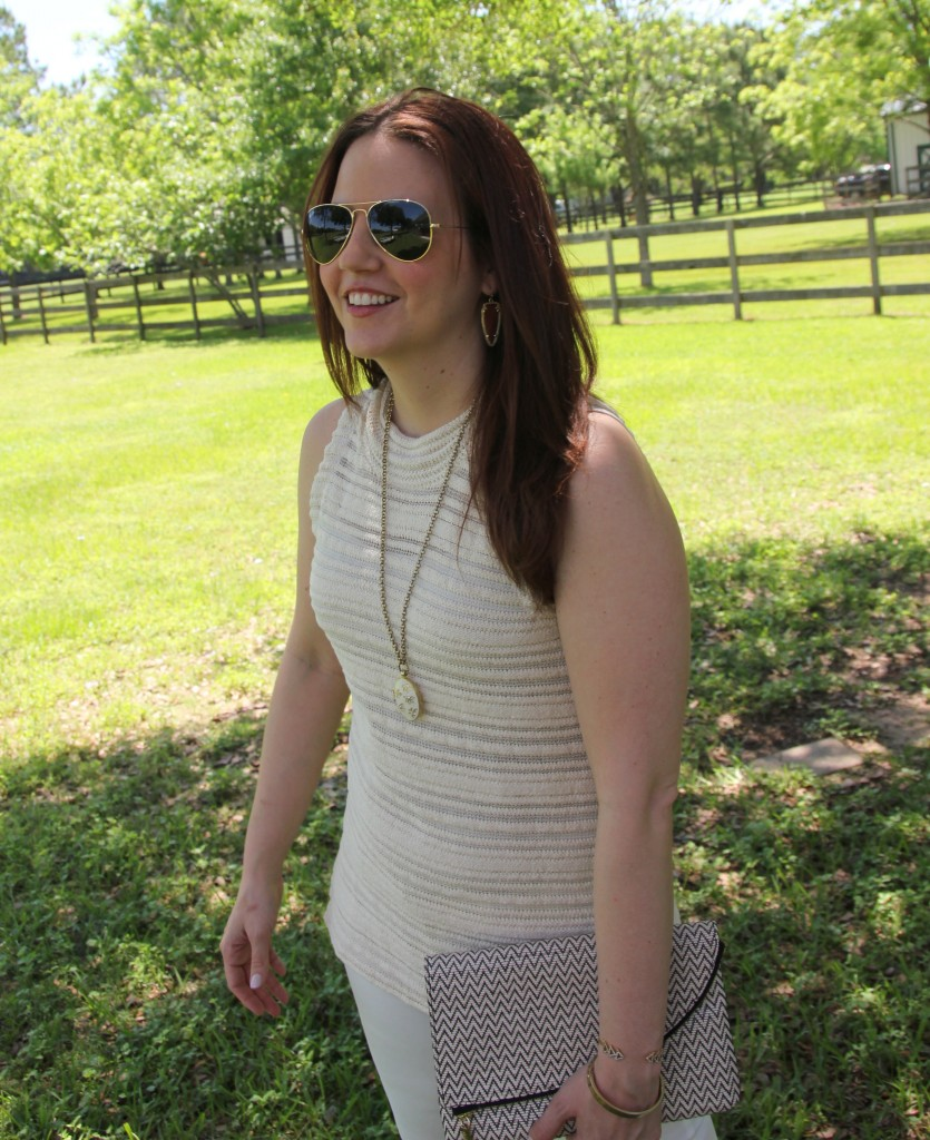Spring outfit idea for white denim | Lady in Violet