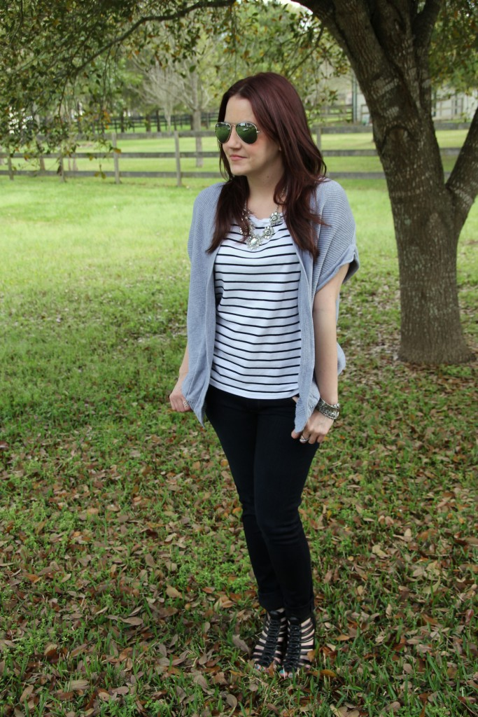 Spring Weekend Outfit Idea - Striped Tee and Skinny Jeans with Wedges and a cardigan | Lady in Violet