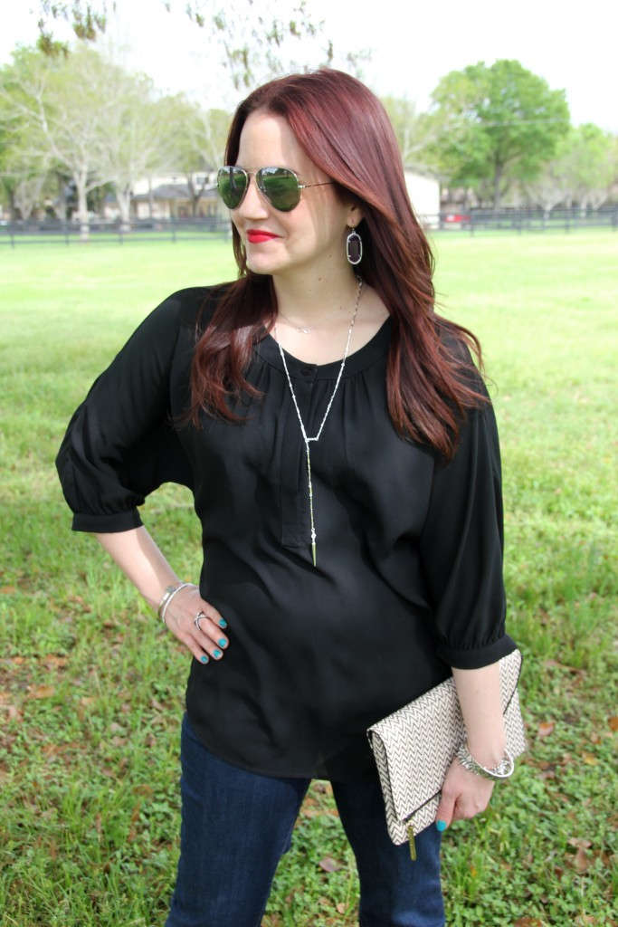 Casual outfit idea - flared jeans and black tunic top | Lady in Violet