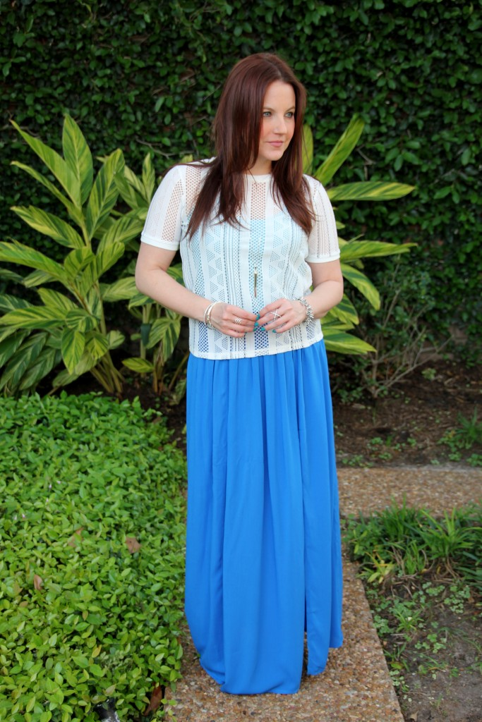 Spring Outfit Idea - Layered tops with blue maxi skirt and nude sandals | Lady in Violet