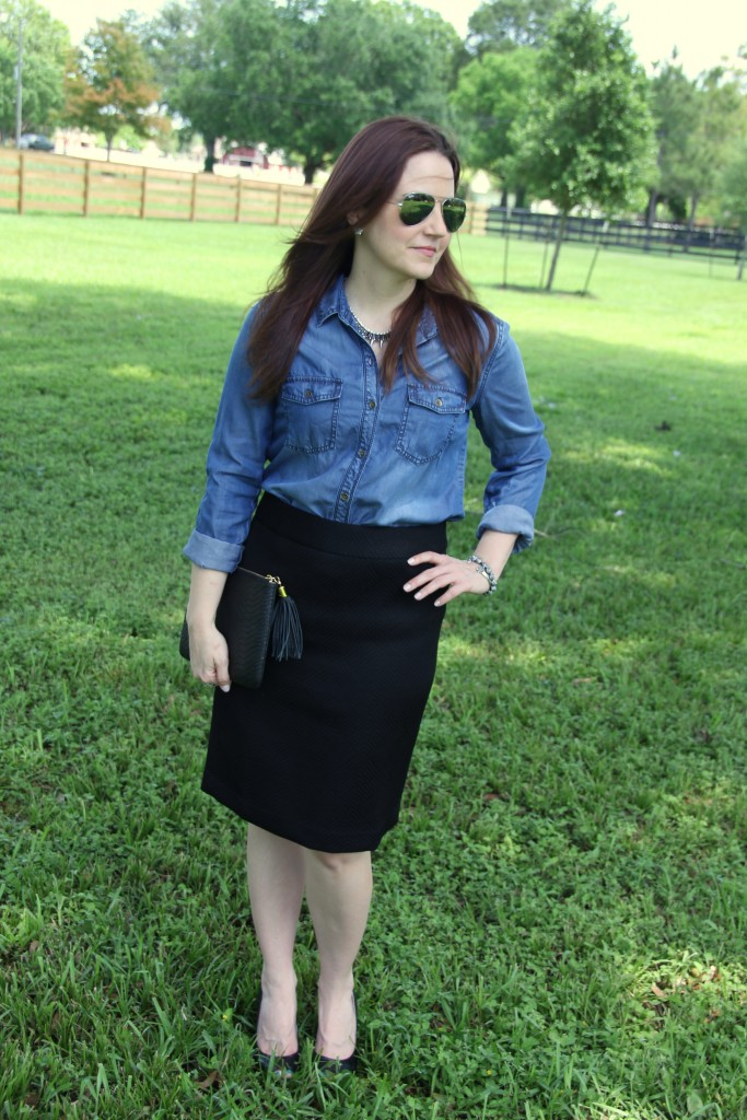 Work Office Outfit Idea - Chambray Shirt and Black Pencil Skirt | Lady in Violet