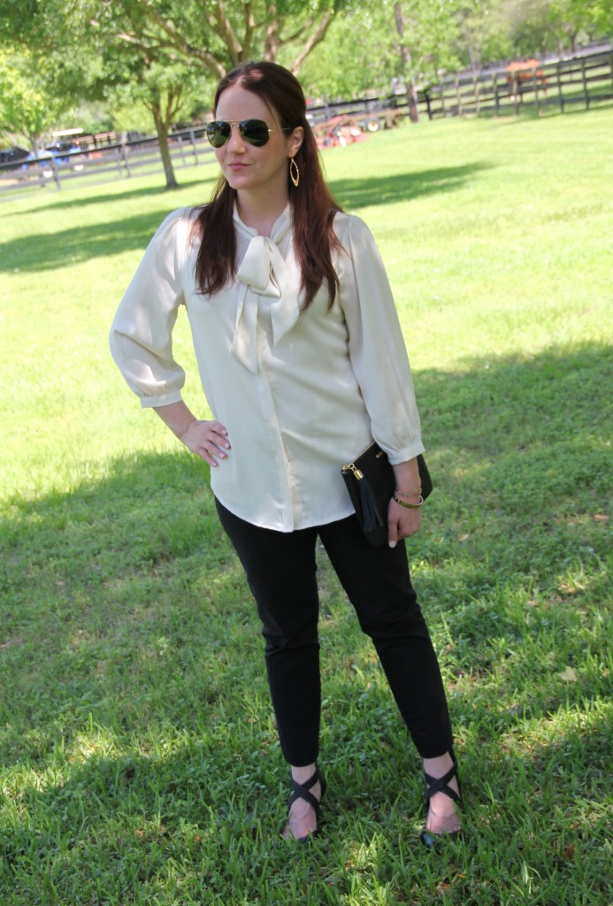 Office Outfit - Tie Neck Blouse and Black Skinny Work Pants | Lady in Violet