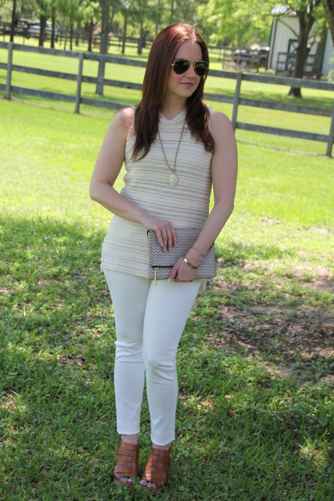 Casual Outfit Idea - White Denim, Beige Top, Wedges | Lady in Violet