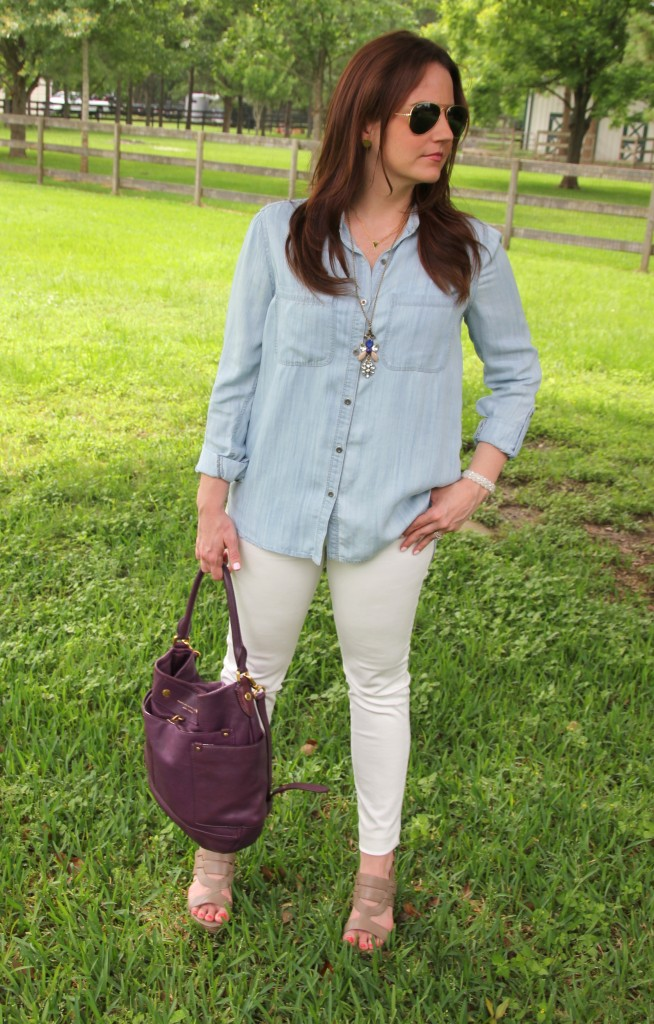 Summer Outfit - LIght Chambray shirt and White Denim with wedges | Lady in Violet