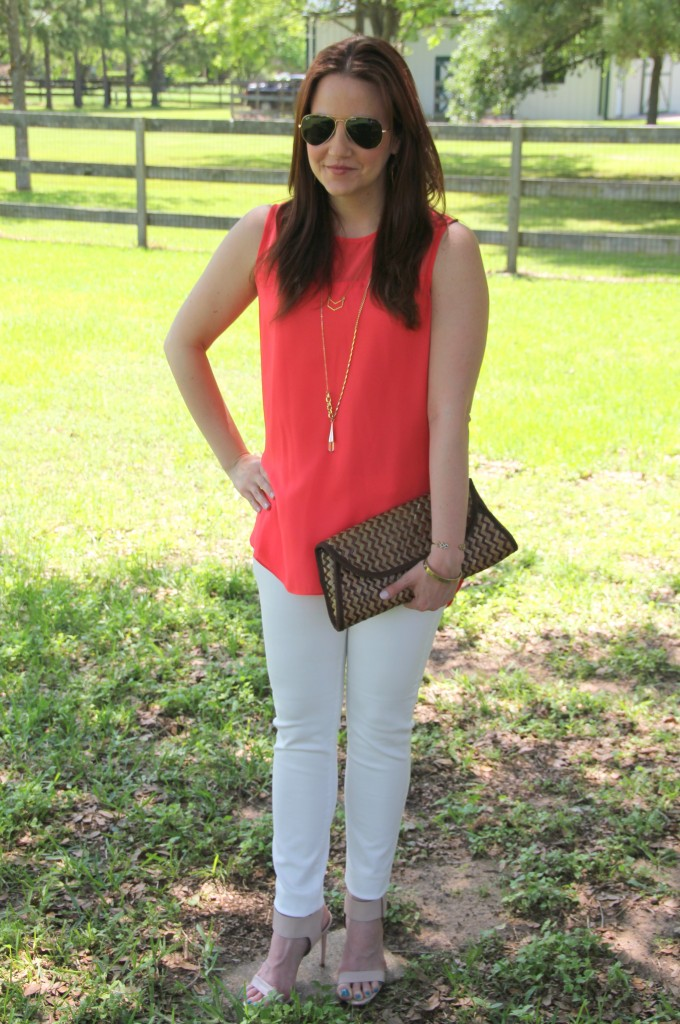 Weekend Outfit Idea - Coral Sleeveless blouse, white denim and sandals | Lady in Violet