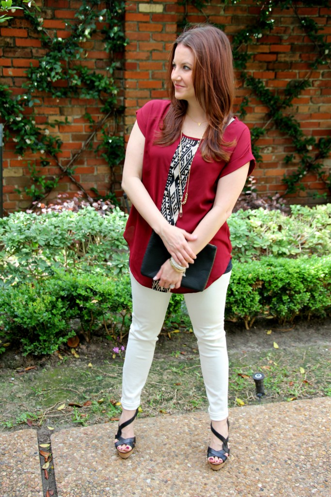 Casual Outfit Idea - Tunic Top, white denim and wedges | Lady in Violet