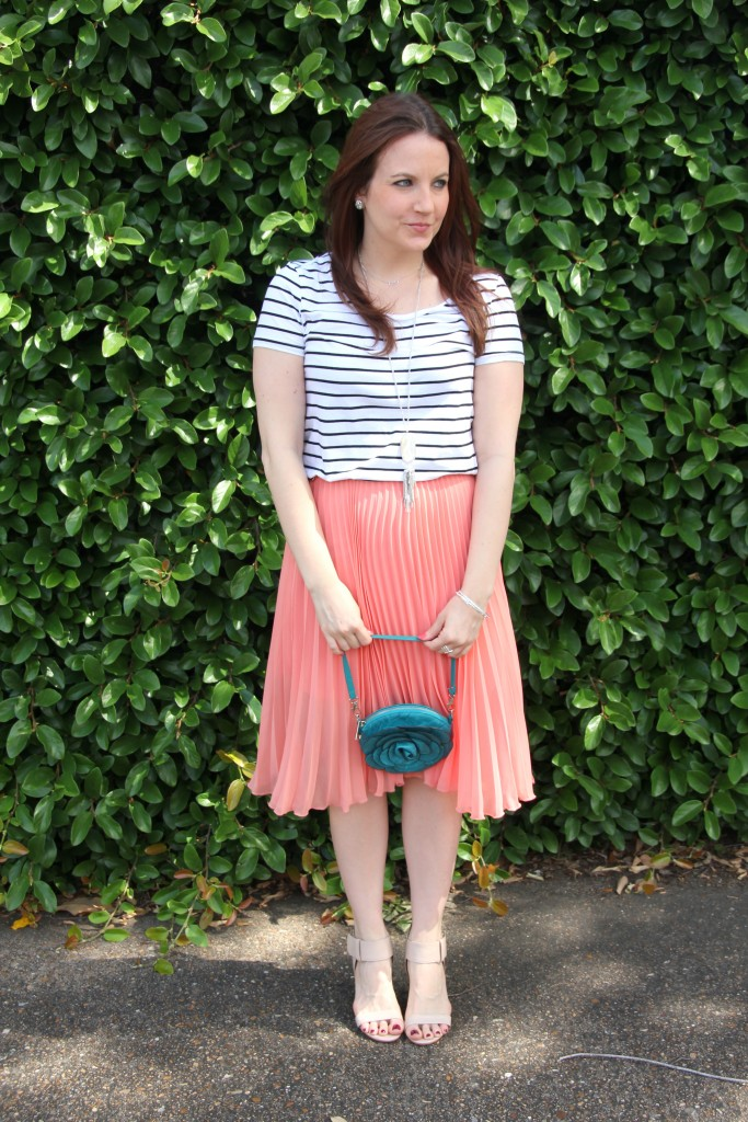 What I Wore: Baby Shower Guest - Striped Tee with Pleated Midi Skirt | Lady in Violet
