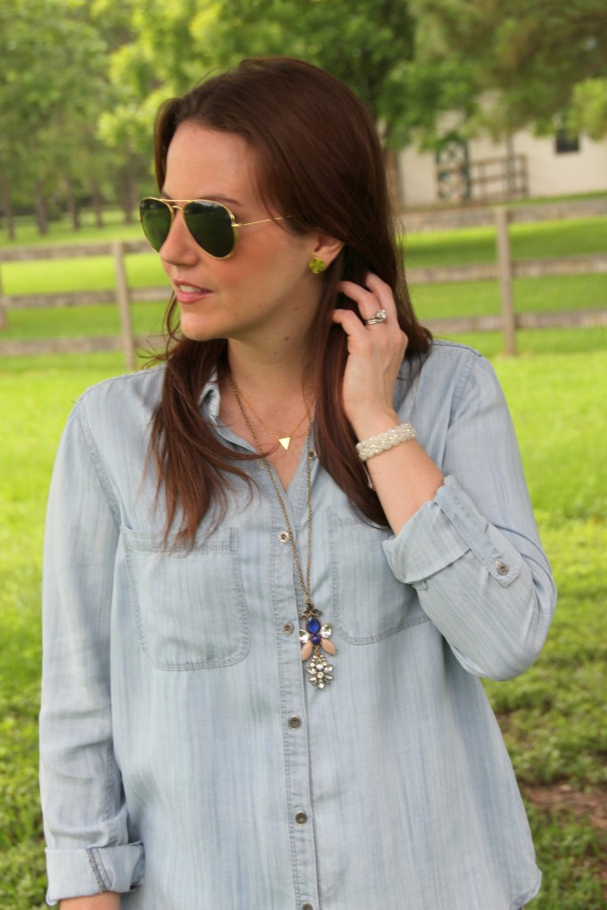 Chambray Shirt with Gold Jewelry | Lady in Violet