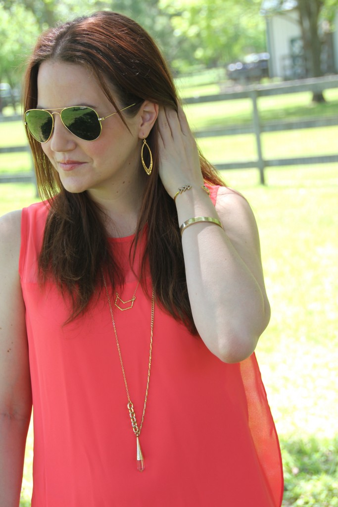 Bright Coral Blouse with Gold Jewelry, great for summer style | Lady in Violet