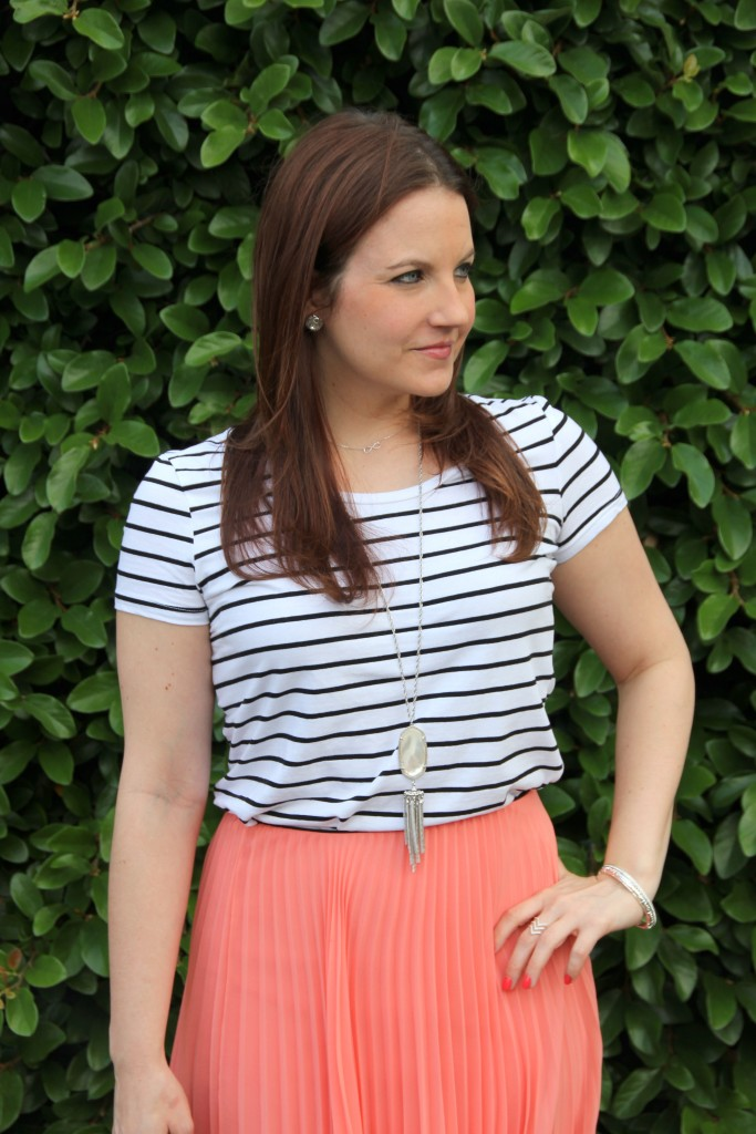 Spring Outfit Idea - Striped Tee with Pleated Midi Skirt | Lady in Violet