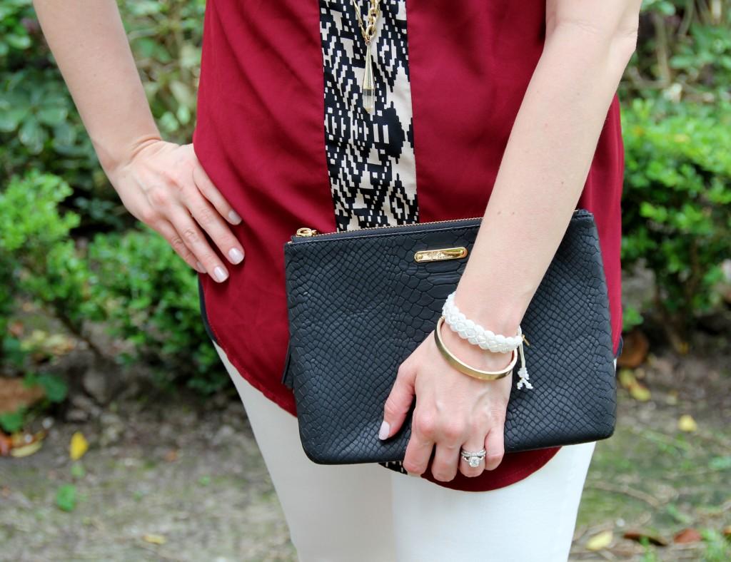 Chan Luu White Bracelet and Baublebar Gold Bangle | Lady in Violet
