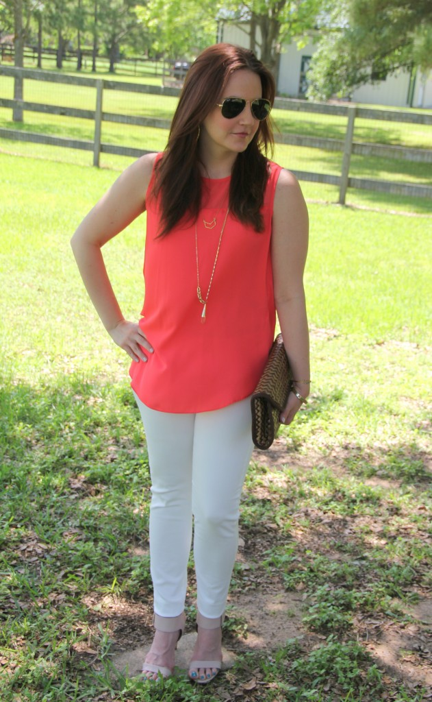 Spring Outfit Idea - Coral Sleeveless blouse, white denim and sandals | Lady in Violet