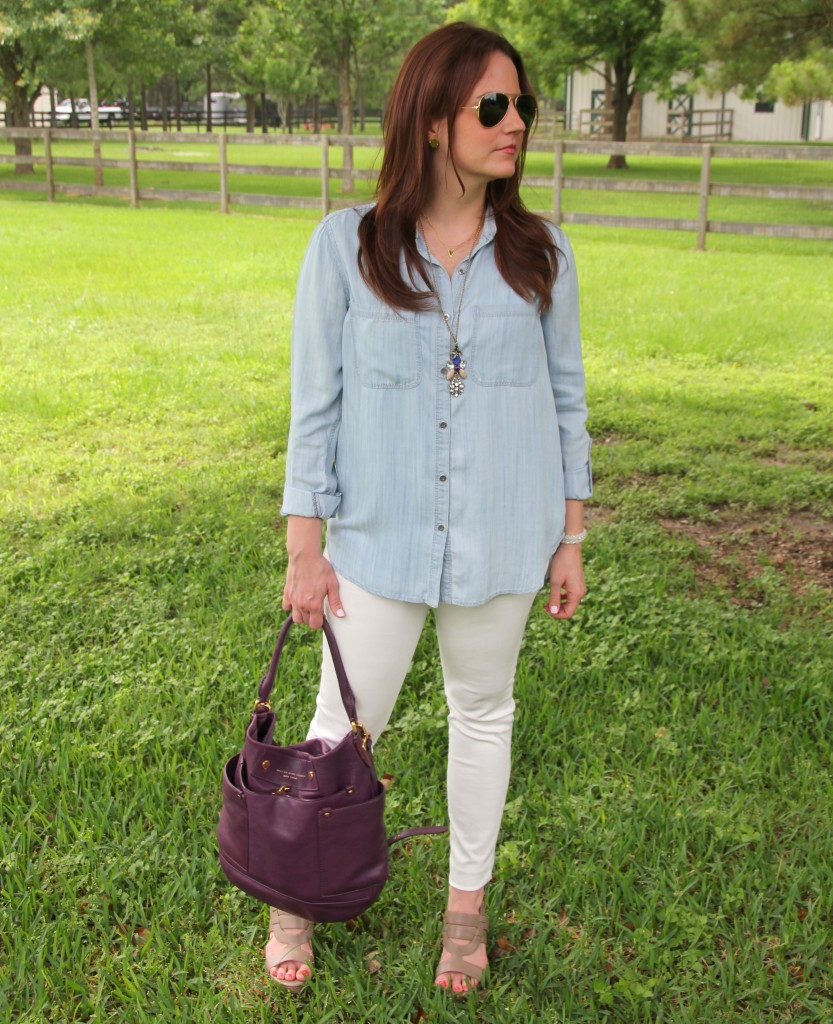 Spring Outfit - LIght Chambray shirt and White Denim with wedges | Lady in Violet