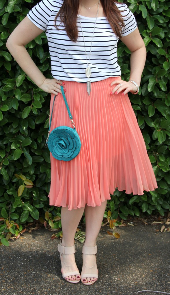 Pink Pleated Midi Skirt with Turquoise purse | Lady in Violet